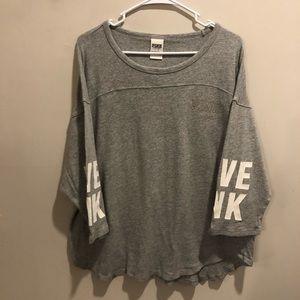 Victoria secret pink long sleeve shirt gray